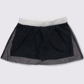Shorts Saia de Bebê Tule + Malha Yoyo Baby Preto