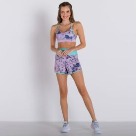 Shorts Vitality Dry Body Lab Lilas/Verde Estampado