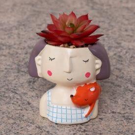 Suculenta Decorativa com Vaso Yaris - Cerâmica