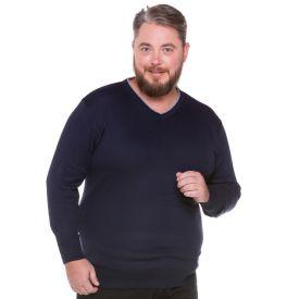 Suéter Decote em V Plus Size Marc Alain Azul Marinho