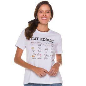 T-shirt Cat Zodiac Patrícia Foster Branco