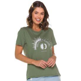 T-shirt com Estampa e Escrita Mística Patrícia Foster Verde
