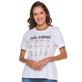 T-shirt Dog Zodiac Patrícia Foster Branco
