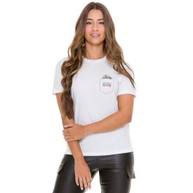 T-shirt Estampa Bolso Patrícia Foster Branco