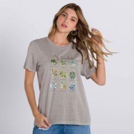 T-Shirt Estampa Suculenta Boby Blues Areia