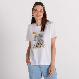 T-Shirt Estátua Pensando em Lanches Boby Blues Branco
