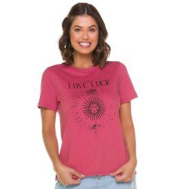 T-Shirt Místico Love Luck Patrícia Foster Rosa Retro