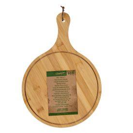 Tábua Gourmet Redonda Com Alça Ecokitchen 26Cm Mimo - Bambu
