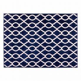Tapete Lotus 1,40X1,90M Quarto E Sala Havan - Corrente Azul e Branco