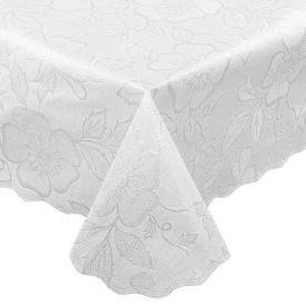 Toalha De Mesa Retangular Adamascada - Branco Floral