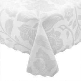 Toalha De Mesa Retangular Devore - Branco Floral