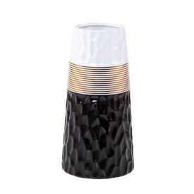 Vaso Decorativo De Cerâmica 8X23cm Yaris - Preto com Dourado e Branco