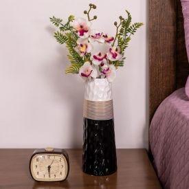 Vaso Decorativo de Cerâmica Yaris - Preto e Dourado e Branco