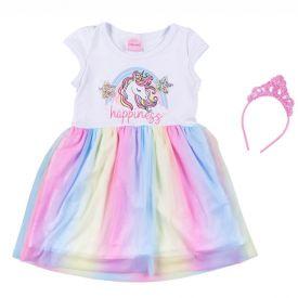 Vestido 1 a 3 anos com Saia em Tule Sublimado Yoyo Kids Branco