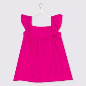 Vestido 1 a 3 anos Curto + Babados Yoyo Kids Rosa