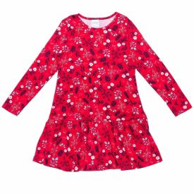 Vestido 4 a 10 anos M/Malha Floral Rotativo Alakazoo Vermlelho Bulgaria