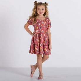 Vestido 4 a 10 anos Poliflex Natureza Marmelada Estampado