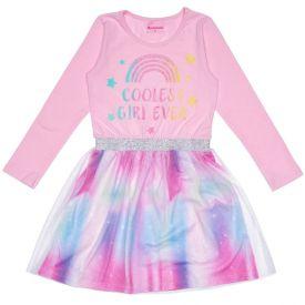 Vestido 4 a 10 anos Saia com Tule Glitter Marmelada Rosa Claro