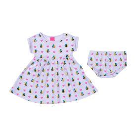 Vestido de Bebê Abelhinha com Calcinha Kamylus Branco