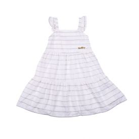 Vestido de Bebê com Babados e Listras Yoyo Baby Off White
