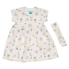 Vestido de Bebê Cotton Floral + Brinde Tiara Yoyo Baby Estampado
