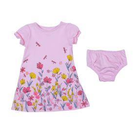 Vestido de Bebê Floral com Calcinha Yoyo Baby Rosa