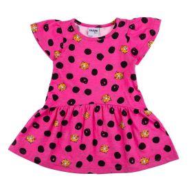 Vestido de Bebê Franzido Estampado Fakini Rosa