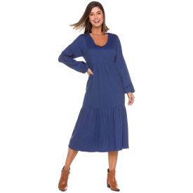 Vestido Longo Marias Linho Patrícia Foster Azul Marinho