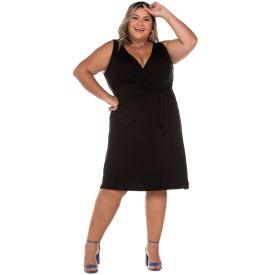 Vestido Plus com Transpasse + Amarração Patricia Foster Mais Preto