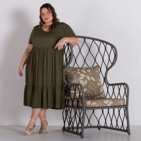 Vestido Plus Midi Marias Patricia Foster Mais Verde Militar