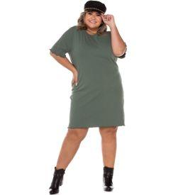 Vestido Plus Size Canelado Patricia Foster Mais Verde