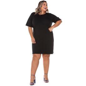 Vestido Plus Size Canelado Patricia Foster Mais Preto