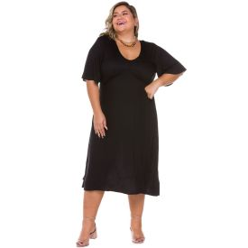 Vestido Plus Size com Recorte Busto Patrícia Foster Mais Preto