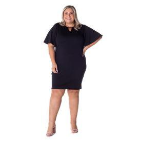 Vestido Plus Size Detalhe no Decote Patrícia Foster Preto