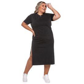 Vestido Plus Size Estonado com Fenda Patrícia Foster Mais