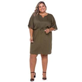 Vestido Plus Size Evase+Cordão Cintura Patricia Foster Mais Verde Militar