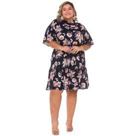 Vestido Plus Size Gola Alta Patrícia Foster Mais Flores Grandes