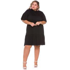 Vestido Plus Size Gola Alta Patrícia Foster Mais Preto