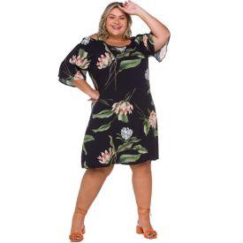 Vestido Plus Size Mangas Amplas Patrícia Foster Mais Floral