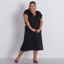 Vestido Plus Size Transpassado Patrícia Foster Mais Preto Poa