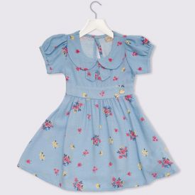 Vestidos de Bebê Popeline Floral Fakini Delicate Azul