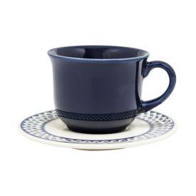 Xícara De Chá Com Pires Biona New Trama Blue 200Ml - Cerâmica