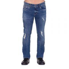 Calça Jeans com Bigodes e Puídos Thing Blue