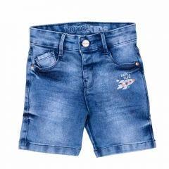Bermuda 1 a 3 anos Jeans com Foguete Yoyo Kids