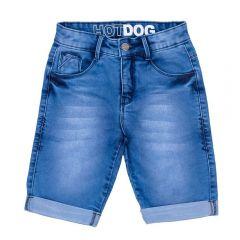Bermuda 4 a 10 anos Jeans Barra Dobrada Hot Dog Azul
