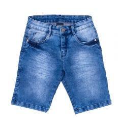 Bermuda 4 a 10 Anos Jeans com Amassado Hot Dog Azul