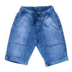 Bermuda 4 a 10 anos Jeans Jogger com Cordão Hot Dog Azul