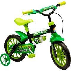 Bicicleta Infantil Black Aro 12 com Garrafinha Nathor - Preto
