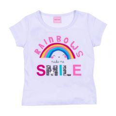 Blusa 1 a 3 Anos Rainbow Smile com Paête Yoyo Kids Branco