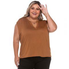 Blusa Plus Size com Peitilho Patrícia Foster Mais Caramelo